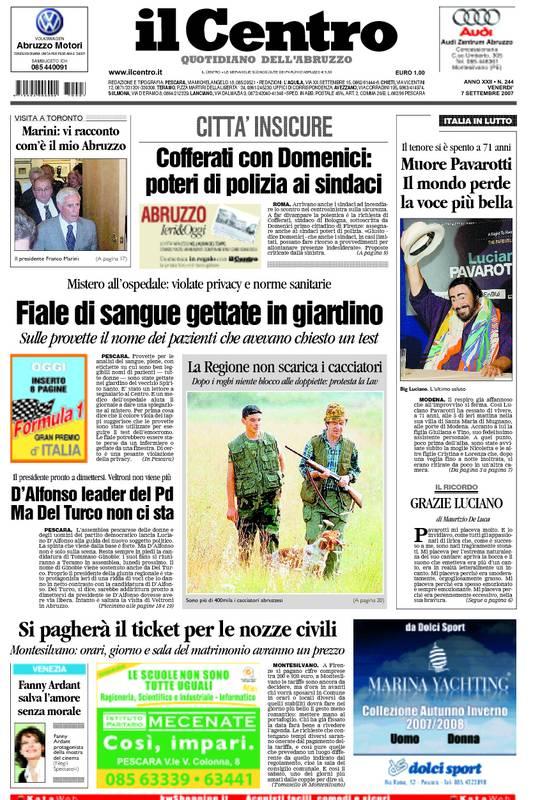 La prima pagina de Il Centro del 7 settembre 2007